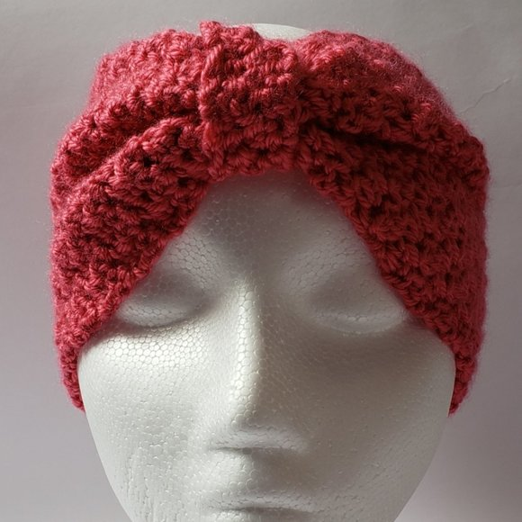 Coral Bow Head Band Ear Warmer Extra Wide Winter